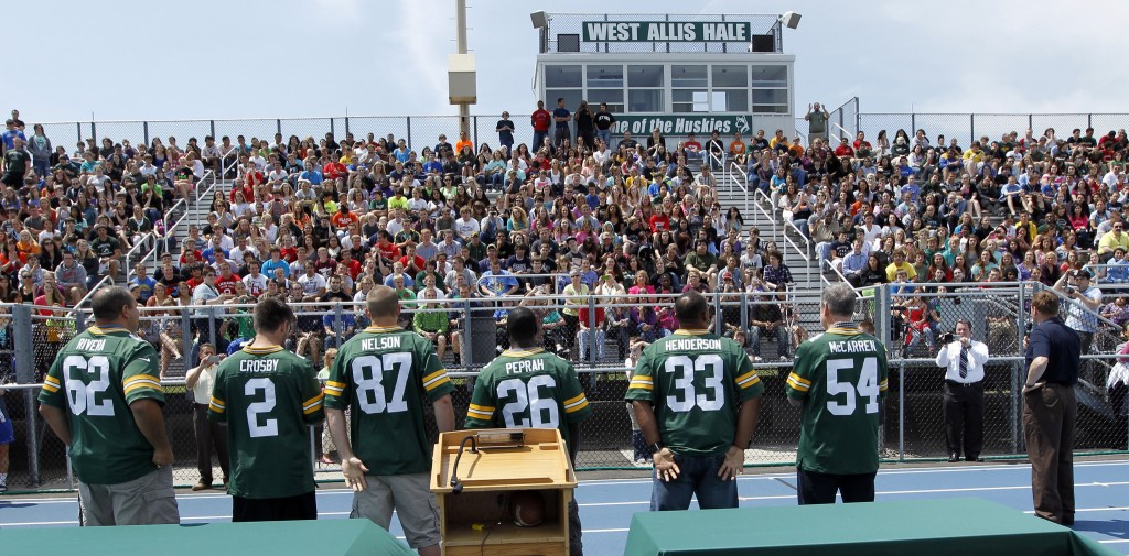Current and former Greeen Bay Packers address students during an unannounced stop on the Green Bay Packers annual Tailgate tour Thursday, May 17, 2012 at Nathan Hale High School in West Allis, Wis. MARK HOFFMAN/MHOFFMAN@JOURNALSENTINEL.COM