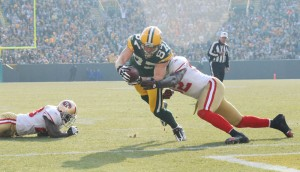Jordy Nelson scores a touchdown versus the 49ers back in 2010. Raymond T. Rivard photograph