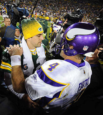 Brett Favre with Aaron Rodgers at Lambeau Field when he was the quarterback for the Minnesota Vikings.