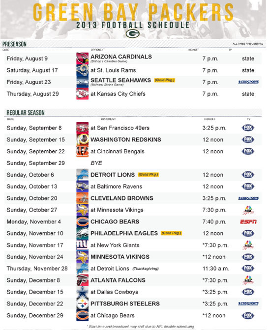 Nerdy image pertaining to green bay packer printable schedule