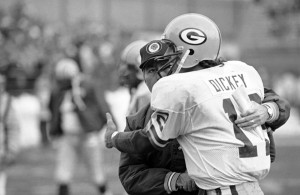 Coach Bart Starr and quarterback Lynn Dickey during the lean years. Photo Credit: USA Today Sports Images