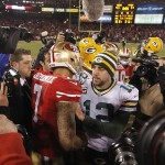 The fantasy value of Green Bay Packers quarterback Aaron Rodgers (12) is way ahead of San Francisco quarterback Colin Kaepernick. Mandatory Credit: Cary Edmondson-USA TODAY Sports