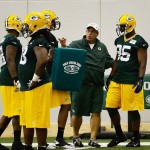 May 10, 2013; Green Bay, WI, USA; Datone Jones (right) works out during the Green Bay Packers rookie orientation weekend. Mandatory Credit: Benny Sieu-USA TODAY Sports