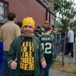 Patrick Hughes waiting to Enter Saraveza of Portland Oregon for a Packer game