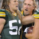 Kevin Greene, with his star pupil, Clay Matthews. Raymond T. Rivard photograph