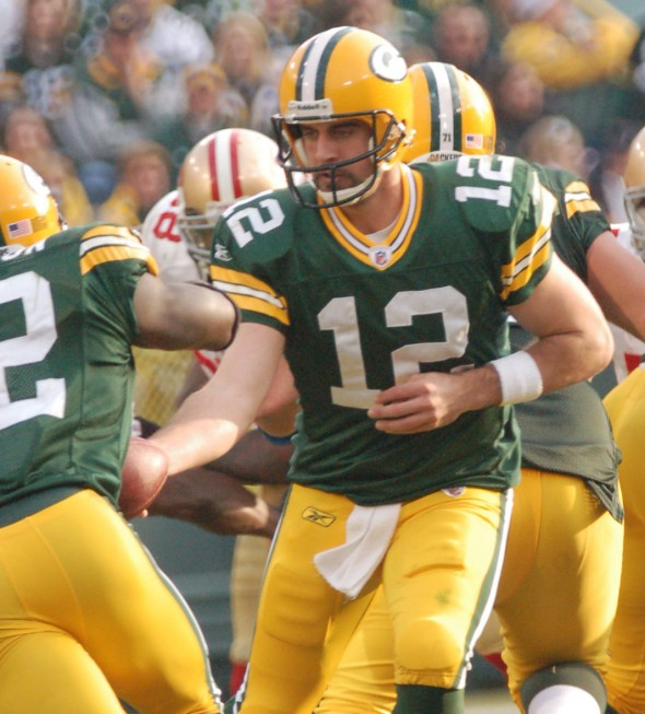 Oh, how we would love to see Aaron Rodgers doing this once more. Raymond T. Rivard photograph