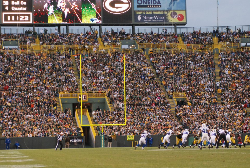 Lambeau Field will be filled this weekend for the Packers vs. 49ers. Lambeau looks a bit different as this photo was taken a few years ago, but the charged energy for a playoff game will be the same. Raymond T. Rivard photograph