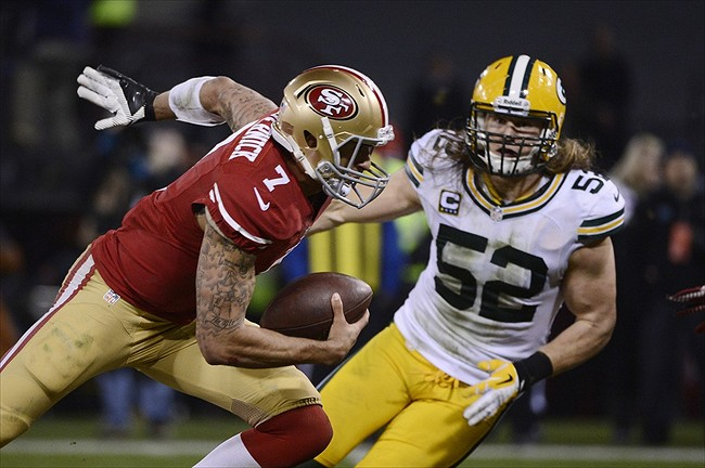 Clay Matthews eyes Colin Kaepernick. This will be a matchup to watch this coming Sunday.