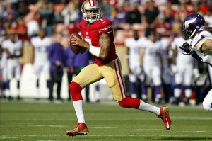 Aug 25, 2013; San Francisco, CA, USA; San Francisco 49ers quarterback Colin Kaepernick (7) looks to pass the ball against the Minnesota Vikings in the first quarter at Candlestick Park. Mandatory Credit: Cary Edmondson-USA TODAY Sports