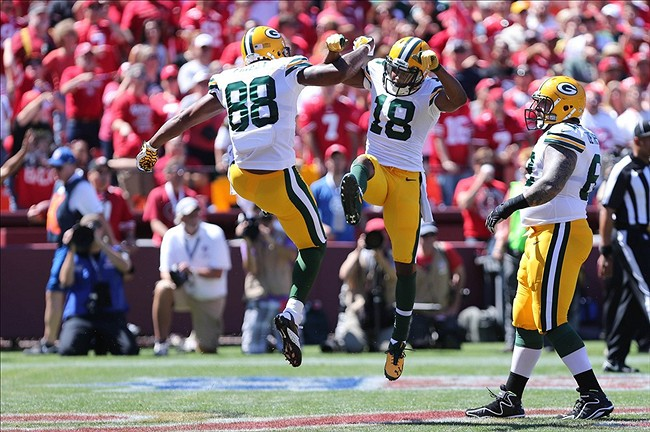 Green Bay Packers wide receiver Randall Cobb (18) celebrates with tight end Jermichael Finley (88) after a touchdown against the San Francisco 49ers during the first quarter at Candlestick Park. Mandatory Credit: Kelley L Cox-USA TODAY Sports photograph