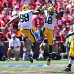 Sep 8, 2013; San Francisco, CA, USA; Green Bay Packers wide receiver Randall Cobb (18) celebrates with tight end Jermichael Finley (88) after a touchdown against the San Francisco 49ers during the first quarter at Candlestick Park. Mandatory Credit: Kelley L Cox-USA TODAY Sports