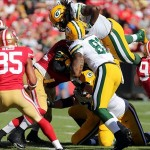 Eddie Lacy (27) scores a touchdown over the pile against the San Francisco 49ers during the fourth quarter at Candlestick Park. The San Francisco 49ers defeated the Green Bay Packers 34-28. Kelley L Cox-USA TODAY Sports photograph