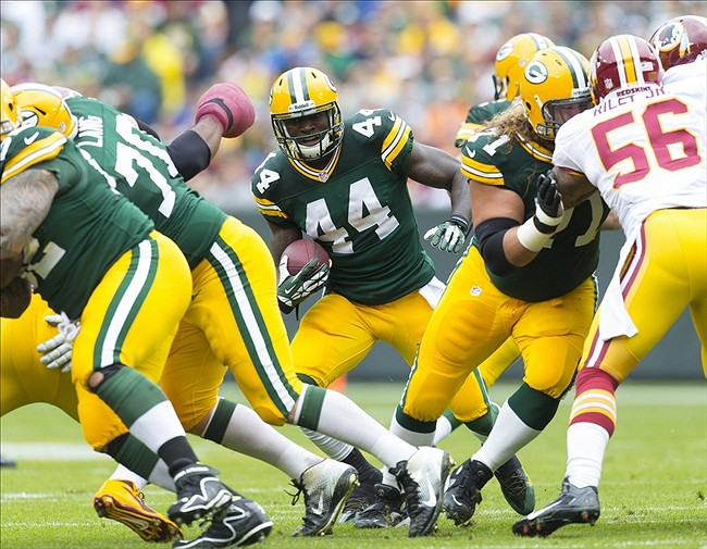 James Starks took over for Eddie Lacy after the rookie went out of the game with a concussion and has rushed for 55 yard and caught four for 36 yards. Jeff Hanisch-USA TODAY Sports photograph