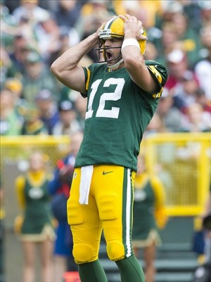 Aaron Rodgers reacts to a play during the second quarter against the Washington Redskins at Lambeau Field. Jeff Hanisch-USA TODAY Sports photograph