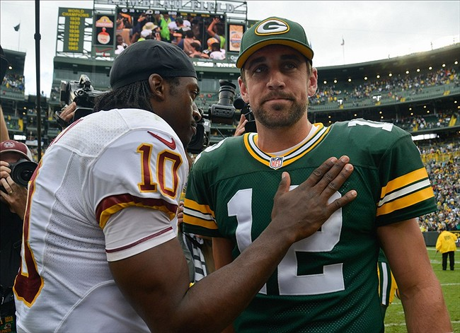 Green Bay Packers quarterback Aaron Rodgers was named the Fed EX Air Player of the Week. Benny Sieu-USA TODAY Sports photograph