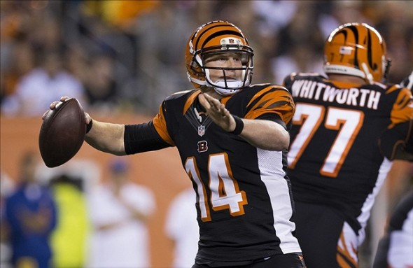 Sep 16, 2013; Cincinnati, OH, USA; Cincinnati Bengals quarterback Andy Dalton (14) passes the ball against the Cincinnati Bengals at Paul Brown Stadium. Mandatory Credit: Greg Bartram-USA TODAY Sports
