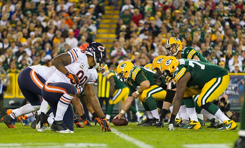 One of the reasons the Packers would lose to the Chicago Bears is if Aaron Rodgers goes down with injury. Jeff Hanisch-USA TODAY Sports photograph