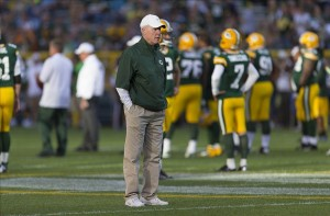 Aug 9, 2013; Green Bay, WI, USA; Green Bay Packers general manager Ted Thompson looks on during warmups prior to the game against the Arizona Cardinals at Lambeau Field. Mandatory Credit: Jeff Hanisch-USA TODAY Sports
