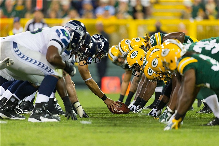 The Seattle Seahawks line up for a play during the game against the Green Bay Packers at Lambeau Field. It pains us to say this, but Seattle is, at this point in the season, the class of the NFC. Jeff Hanisch-USA TODAY Sports photograph