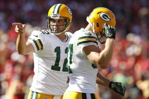 Aaron Rodgers reacts after throwing a touchdown to wide receiver Jordy Nelson against the San Francisco 49ers in the third quarter at Candlestick Park. Cary Edmondson-USA TODAY Sports photograph
