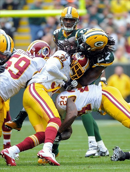 Despite missing two games during the early going because of the hit he took from Washington Redskins safety Brandon Meriweather, Green Bay Packers running back Eddie Lacy has rebounded nicely. In fact, he was just recently named the offensive Rookie of the Month for October. Benny Sieu-USA TODAY Sports
