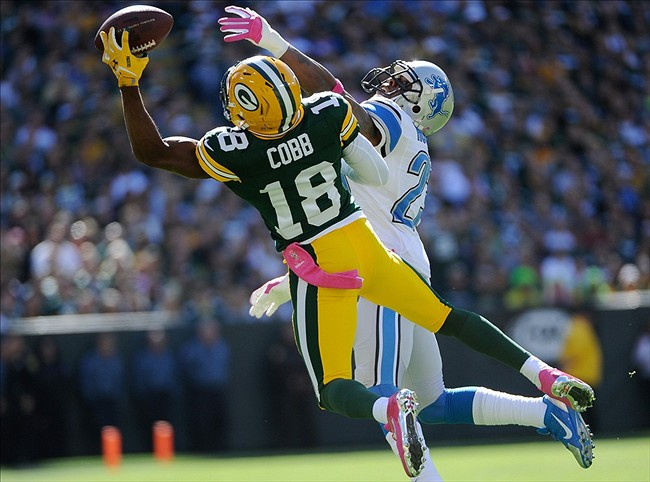 Green Bay Packers wide receiver Randall Cobb makes a one-handed catch as Detroit Lions cornerback Chris Houston (23) defends. Benny Sieu-USA TODAY Sports photograph
