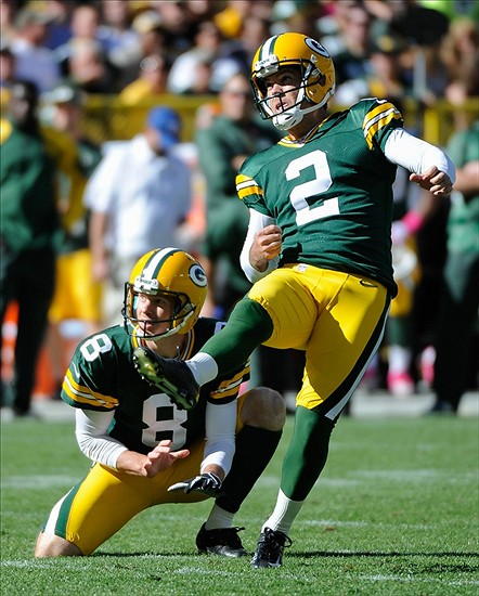 Mason Crosby kicks one of his five field goals on the day last Sunday against the Detroit Lions. Benny Sieu-USA TODAY Sports photograph
