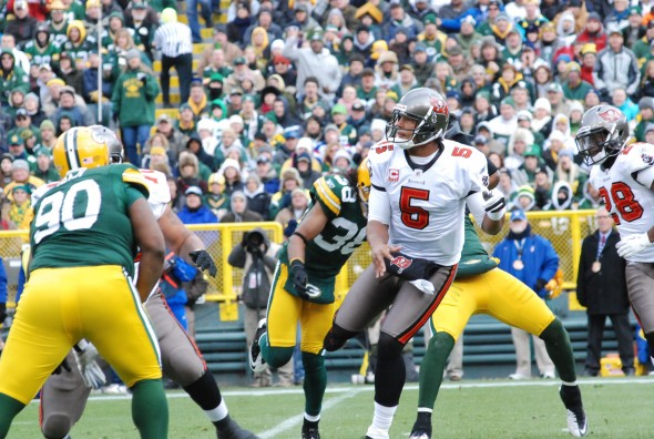 Josh Freeman, as a Tampa Bay Buc, competes against the Green Bay Packers in 2011. Raymond T. Rivard photograph
