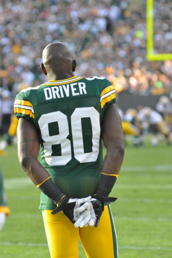 Donald Driver watches action from the sideline in the Packers 2012 season-opener against the San Francisco 49ers. Raymond T. Rivard photograph