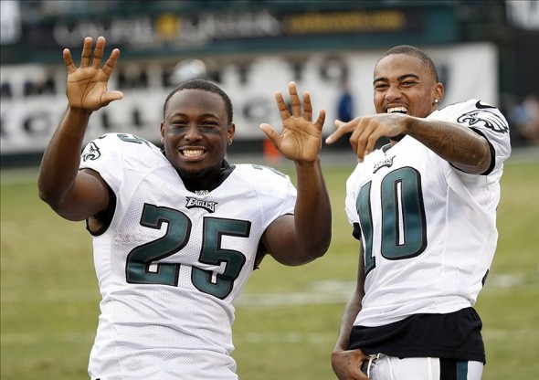 LeSean McCoy and DeSean Jackson can't stop laughing about how bad the Packers defense was in trying to stop them. Bob Stanton-USA TODAY Sports photograph