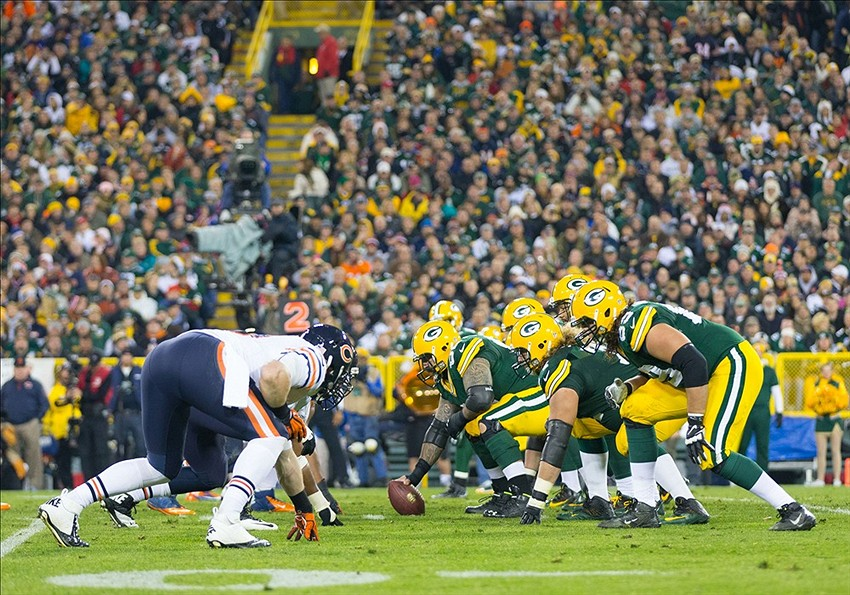 Nov 4, 2013; Green Bay, WI, USA; The Green Bay Packers line up for a play during the third quarter against the Chicago Bears at Lambeau Field. Chicago won 27-20. Mandatory Credit: Jeff Hanisch-USA TODAY Sports