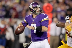 Nov 7, 2013; Minneapolis, MN, USA; Minnesota Vikings quarterback Christian Ponder (7) throws during the second quarter against the Washington Redskins at Mall of America Field at H.H.H. Metrodome. Mandatory Credit: Brace Hemmelgarn-USA TODAY Sports