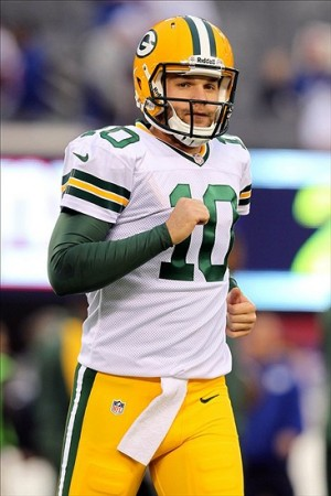 Nov 17, 2013; East Rutherford, NJ, USA; Green Bay Packers quarterback Matt Flynn (10) warms up before the start of a game against the New York Giants at MetLife Stadium. Mandatory Credit: Brad Penner-USA TODAY Sports