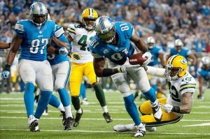 Detroit Lions wide receiver Calvin Johnson (81) scores a touchdown as the Lions torched the Packers on Thanksgiving. Tim Fuller-USA TODAY Sports