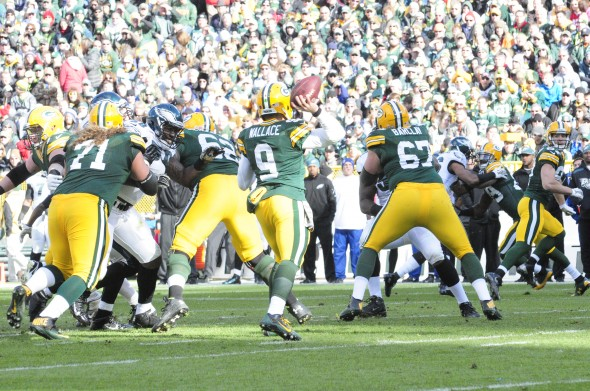 Quarterback Seneca Wallace lasted one series last week for the Green Bay Packers. Raymond T. Rivard photograph