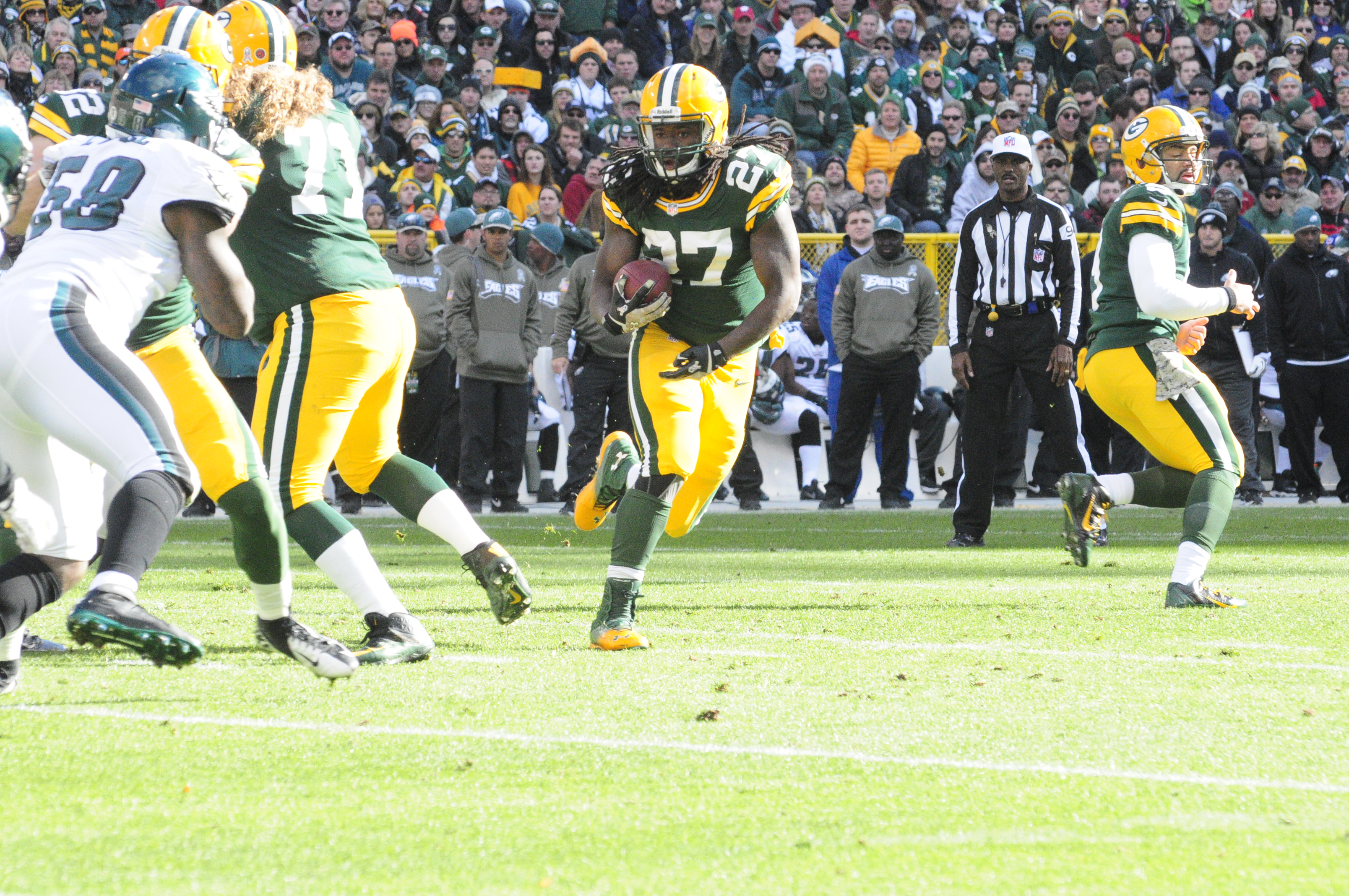 Eddie Lacy has been a battering ram through the first half of the season, but when does the team cross the line of using him too much? Raymond T. Rivard photograph