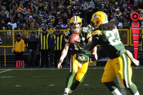 At least for the next couple of games, quarterback Scott Tolzien and Eddie Lacy will have to carry the team until Aaron Rodgers comes back. Raymond T. Rivard photograph