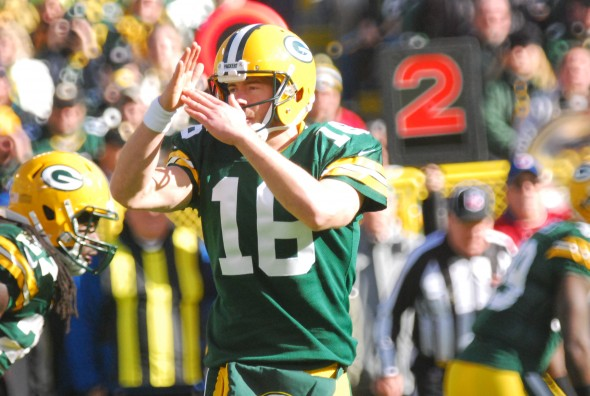 Packers quarterback Scott Tolzien calls a time out during Sunday's game against the Philadelphia Eagles at Lambeau Field. Raymond T. Rivard photograph