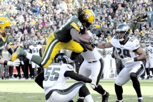 Eddie Lacy was flying high all season long for the Green Bay Packers. Raymond T. Rivard photograph