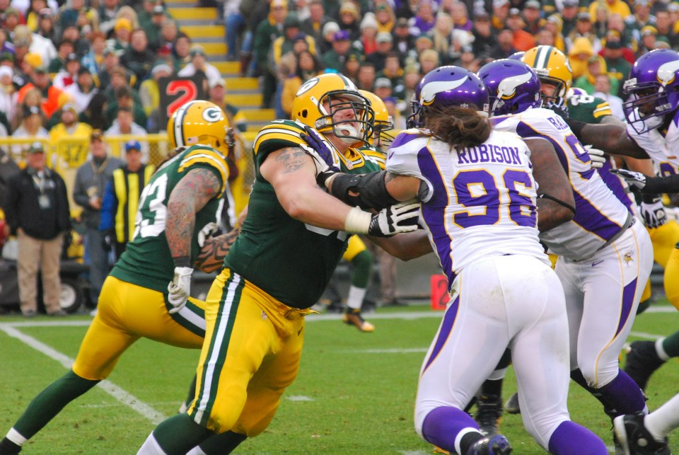 Don Barclay has added a physical presence at the right tackle position that has helped to solidify the Packers' offensive line. Raymond T. Rivard photographg