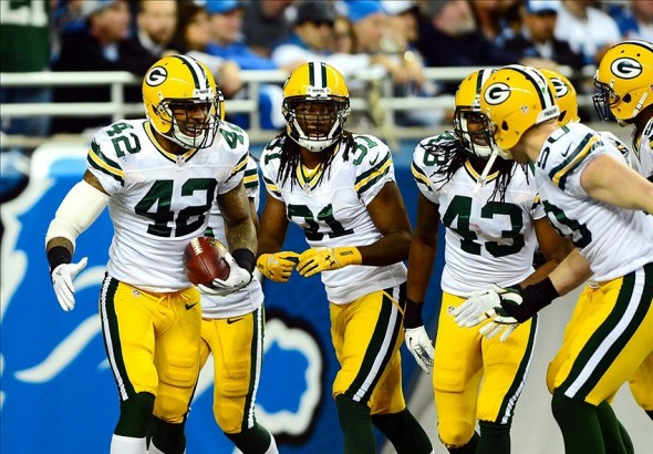 Green Bay Packers strong safety Morgan Burnett celebrates with teammates. They've had little to celebrate recently. Andrew Weber-USA TODAY Sports photograph