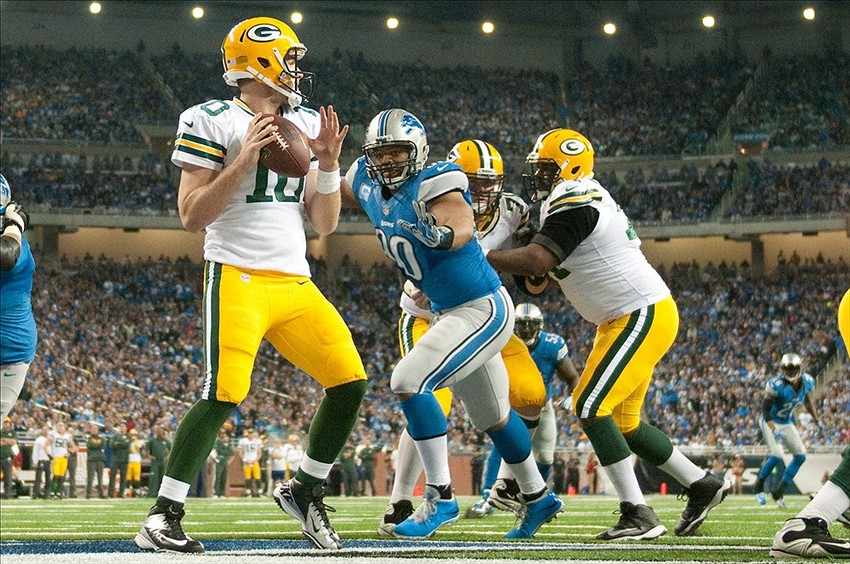 Detroit Lions defensive tackle Ndamukong Suh sacks Green Bay Packers quarterback Matt Flynn in the end zone for a safety during the third quarter during a NFL football game on Thanksgiving at Ford Field. Tim Fuller-USA TODAY Sports photograph