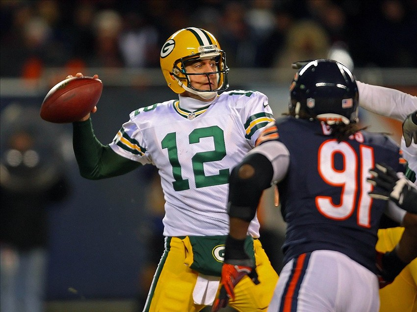 Aaron Rodgers passes during the second half against the Chicago Bears at Soldier Field. Green Bay won 33-28. Dennis Wierzbicki-USA TODAY Sport