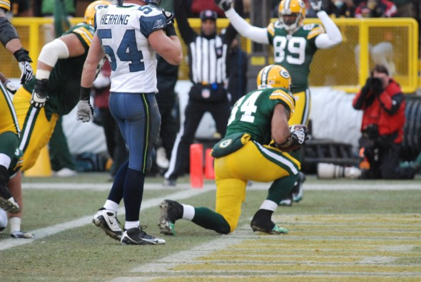 Ahman Green scored his final touchdown with the Green Bay Packers in his final home game against the Seattle Seahawks, the team that traded him to Green Bay. Raymond T Rivard photograph