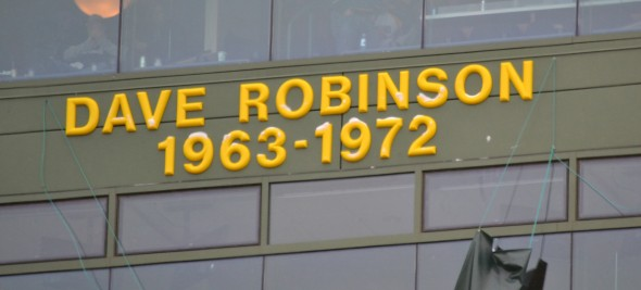 Pro Football Hall of Famer Dave Robinson's name was unveiled Sunday on the Packers Ring of Honor at Lambeau Field. Jim Oxley photograph
