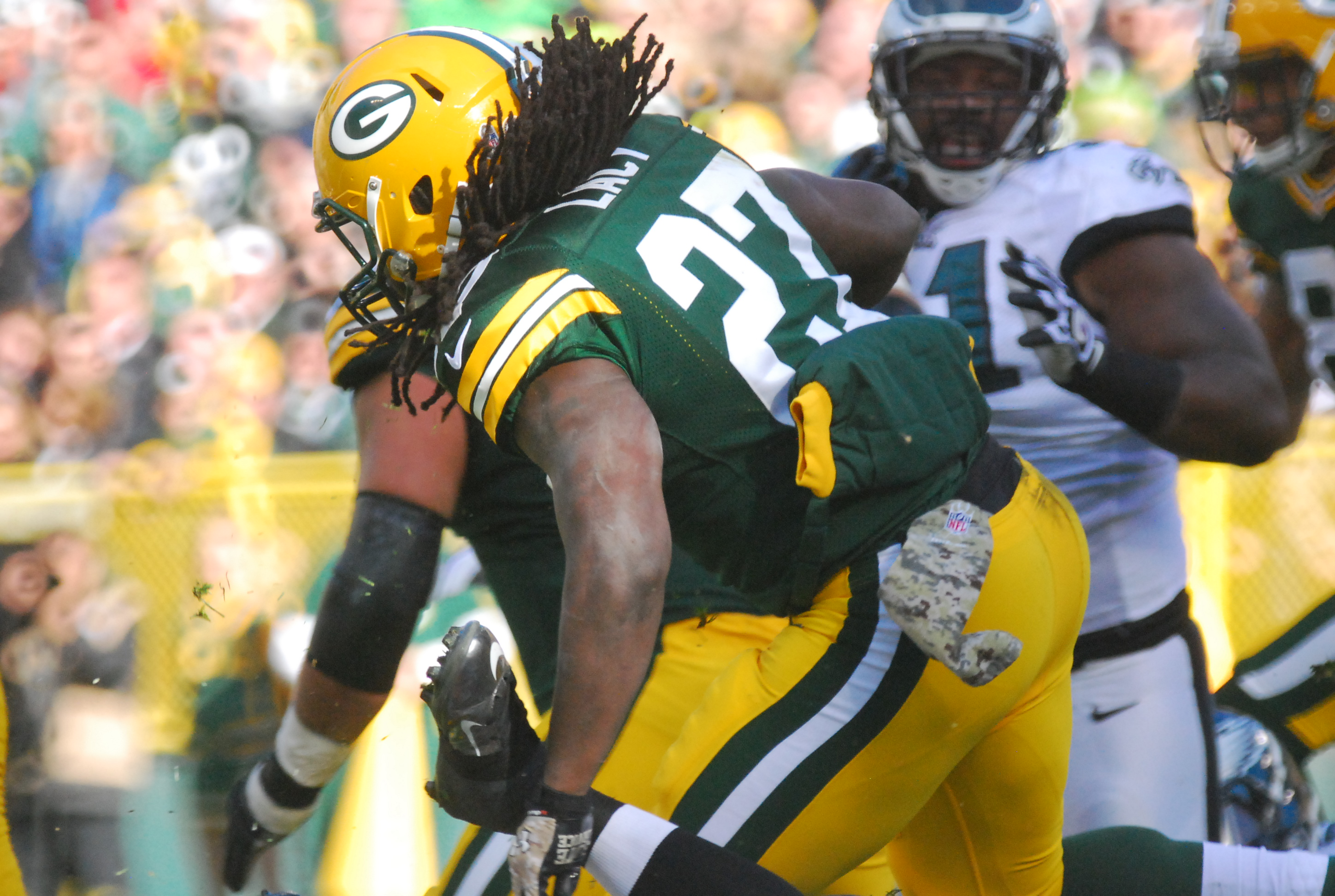 Eddie Lacy has been effective with and without Aaron Rodgers in the lineup. Raymond T. Rivard photograph