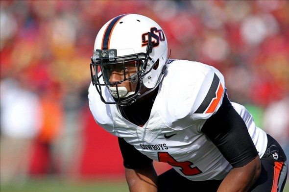 Oklahoma State Cowboys cornerback Justin Gilbert Brace Hemmelgarn-USA TODAY Sports photograph
