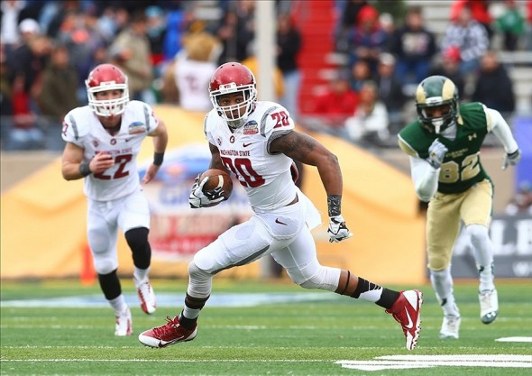 Washington State Cougars safety Deone Bucannon (20) returns an interception. Mark J. Rebilas-USA TODAY Sports photograph
