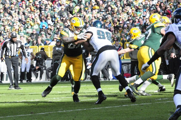 Andrew Quarless, known as a good blocker, does his business against the Eagles last November. Raymond T. Rivard photograph