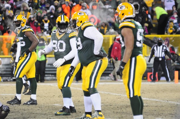 The Packers defensive line played well against the Niners, with the exception of containing Colin Kaepernick. Raymond T. Rivard photograph